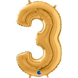 Ballongsiffra - Tre Guld 66 cm