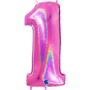 Ballongsiffra - Ett Glitter Rosa 100 cm