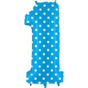 Ballongsiffra - Ett Polkadot Ljusblå 100 cm