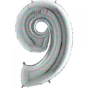 Ballongsiffra - Nio Holografisk 100 cm
