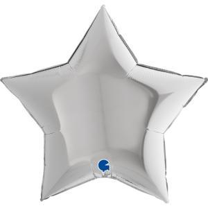 Folieballong - Stjärna Silver 91 cm