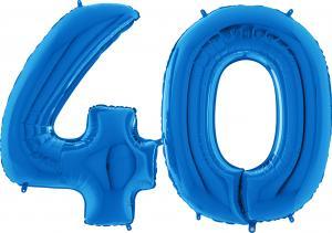Ballongsiffror - 40 Blå 100 cm