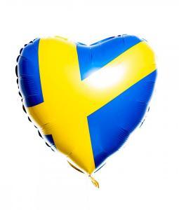 Folieballong - Hjärta med svenska flaggan