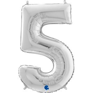 Ballongsiffra - Fem Silver 66 cm