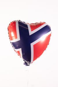 Folieballong - Norska Flaggan Hjärta 45 cm