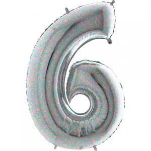Ballongsiffra - Sex Holografisk 100 cm