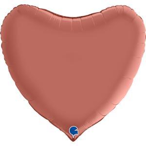 Folieballong - Hjärta Satin Rose Gold 91 cm