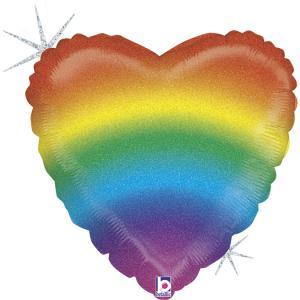 Folieballong - Glitter Rainbow Heart 45 cm