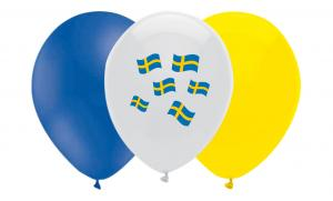 Latexballonger Kombo - Sverige Gult & Blått 10-pack