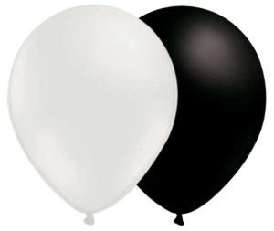 vita och svarta ballonger