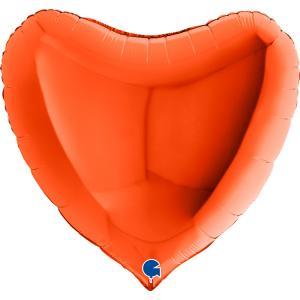 Folieballong - Hjärta Orange 91 cm