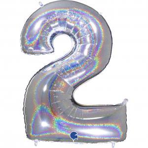 Ballongsiffra - Två Glitter Silver 100 cm