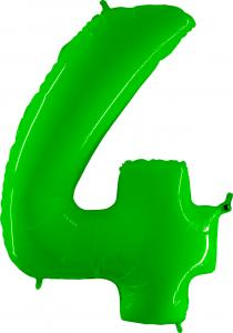 Ballongsiffra - Fyra Lime Shiny 100 cm
