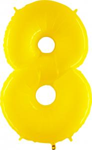 Ballongsiffra - Åtta Gul Shiny 100 cm
