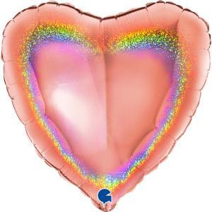 Folieballong - Hjärta Glitter Rose Gold 46 cm