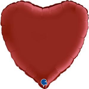 Folieballong - Hjärta Satin Rubin Red 46 cm