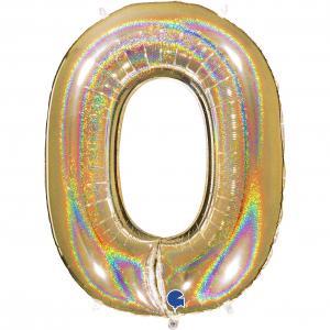 Ballongsiffra - Noll Glitter Guld 100 cm