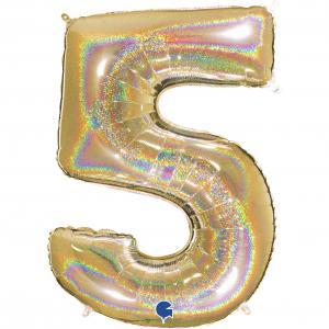 Ballongsiffra - Fem Glitter Guld 100 cm
