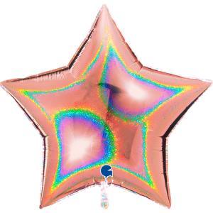 Folieballong - Stjärna Glitter Rose Gold 91 cm