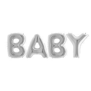 Ballonggirlang - BABY Silver 100 cm