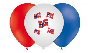 Latexballonger med norska flaggor