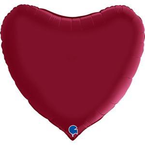 Folieballong - Hjärta Satin Cherry 91 cm