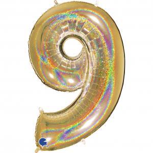 Ballongsiffra - Nio Glitter Guld 100 cm