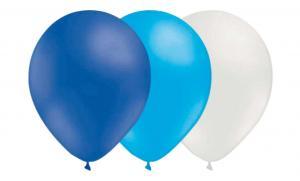 Latexballonger Kombo - Blå-Ljusblå-Vit 15-pack