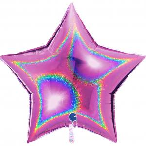 Folieballong - Stjärna Glitter Rosa 91 cm