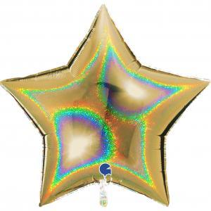 Folieballong - Stjärna Glitter Gold 91 cm