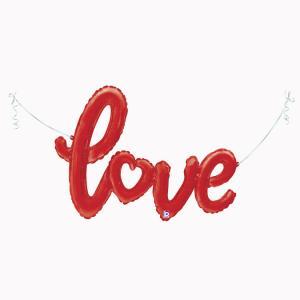 Folieballong - Love Script Rött