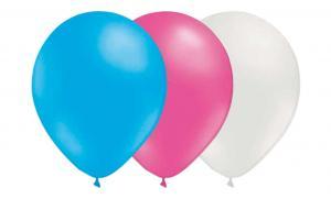 Latexballonger Kombo - Ljusblå-Rosa-Vit 15-pack
