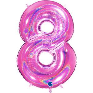 Ballongsiffra - Åtta Glitter Rosa 100 cm