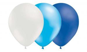 Ballongkombo - Vit-Metallic Ljusblå-Blå 15-pack