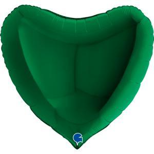 Folieballong - Hjärta Mörkgrönt 91 cm
