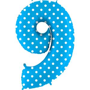 Ballongsiffra - Nio Polkadot Ljusblå 100 cm