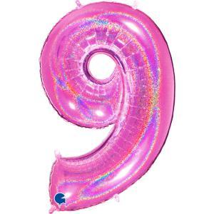 Ballongsiffra - Nio Glitter Rosa 100 cm