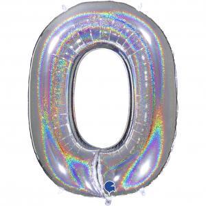 Ballongsiffra - Noll Glitter Silver 100 cm