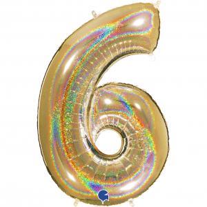 Ballongsiffra - Sex Glitter Guld 100 cm