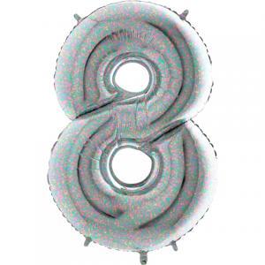 Ballongsiffra - Åtta Holografisk 100 cm
