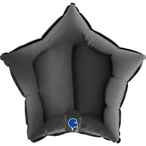 Folieballong - Stjärna Svart 45 cm