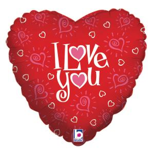 Folieballong - Love You Hearts 45 cm