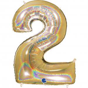 Ballongsiffra - Två Glitter Guld 100 cm