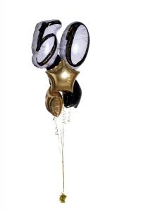 Ballongbukett - Marble Shape Birthday 50 Gold/Black