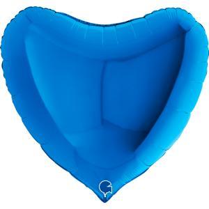 Folieballong - Hjärta Blått 91 cm