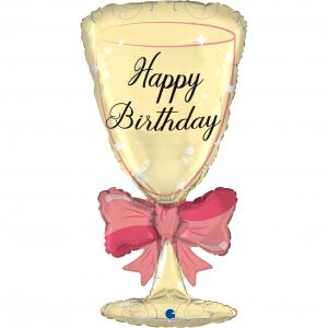 Folieballong - Happy Birthday Glass Shape