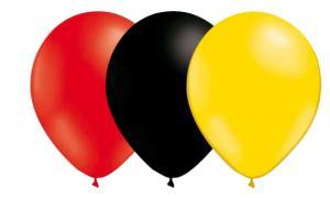 Röd, svart och gul ballonger